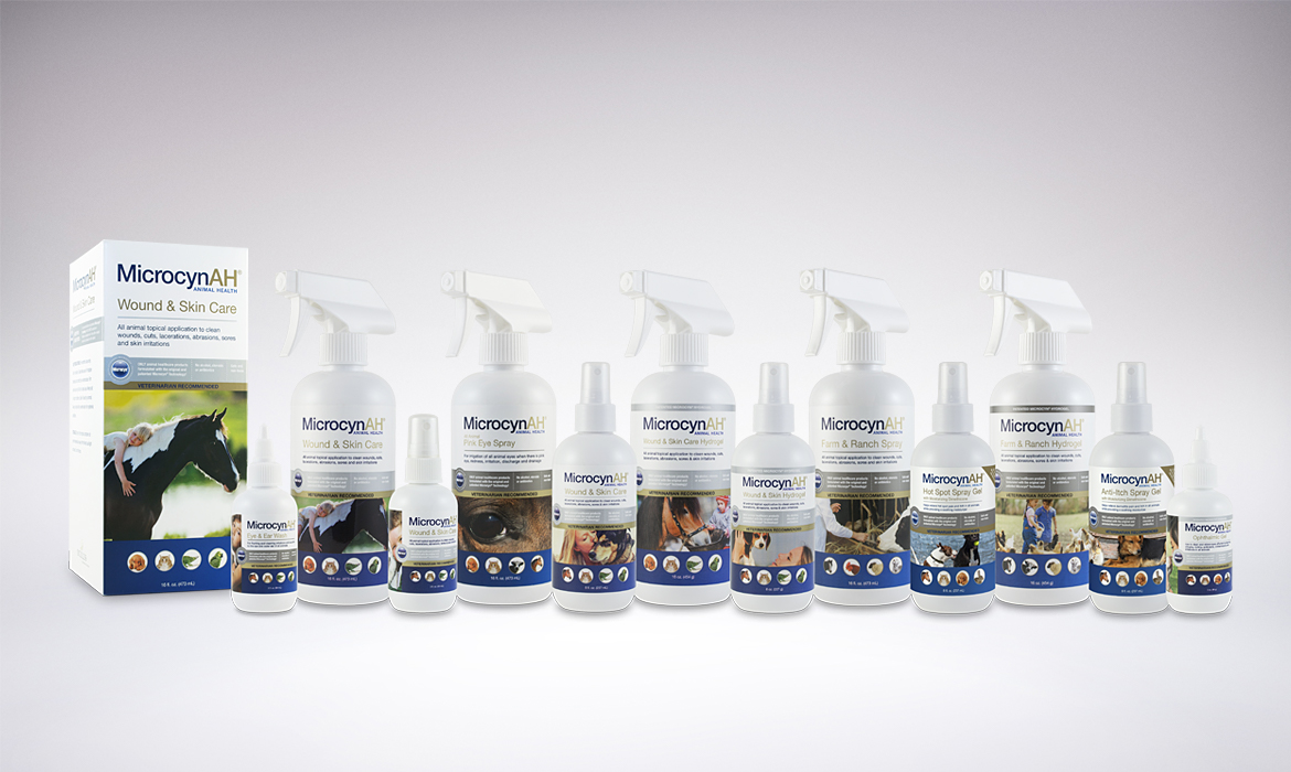 MicrocynAH Animal Health Product labels and packaging